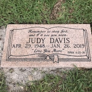 Davis Book Flat Gravestone