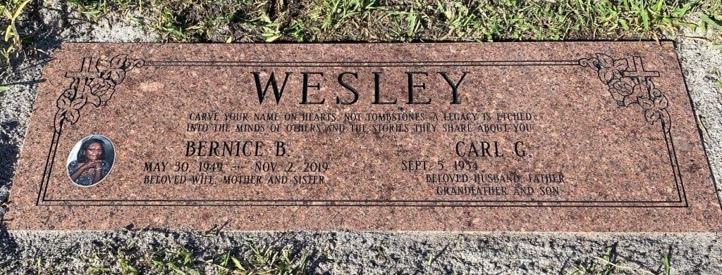 Wesley Legacy Flat Headstone