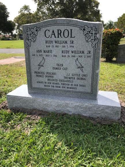 Carol Family Upright Gravestone