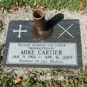 Cartier Flat Headstone with Vase