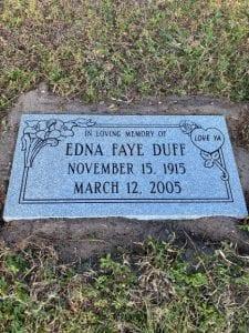 Duff Floral Flat Headstone