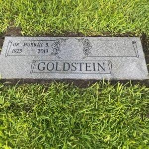 Goldstein Scrolled Flat Gravestone